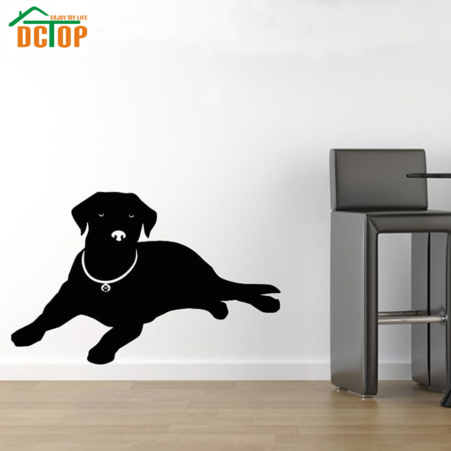 Europe Home Decor Lying Labrador Wall Sticker Black Animal Silhouette Sticker Living Room Puppy Dog Wall