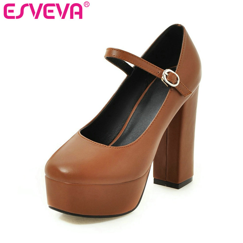 ESVEVA 2017 Platform Thick High Heel Women Pumps Round Toe Party Shoes Concise Mary Janes Beige Women Wedding Shoes Size 34-39