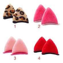 2Pcs/Pair Toddler Baby Girls Cute Cartoon 3D Cat Ears Hair Clips Candy Color Leopard Printed Hairpins Plush Fluffy Snap Barrette