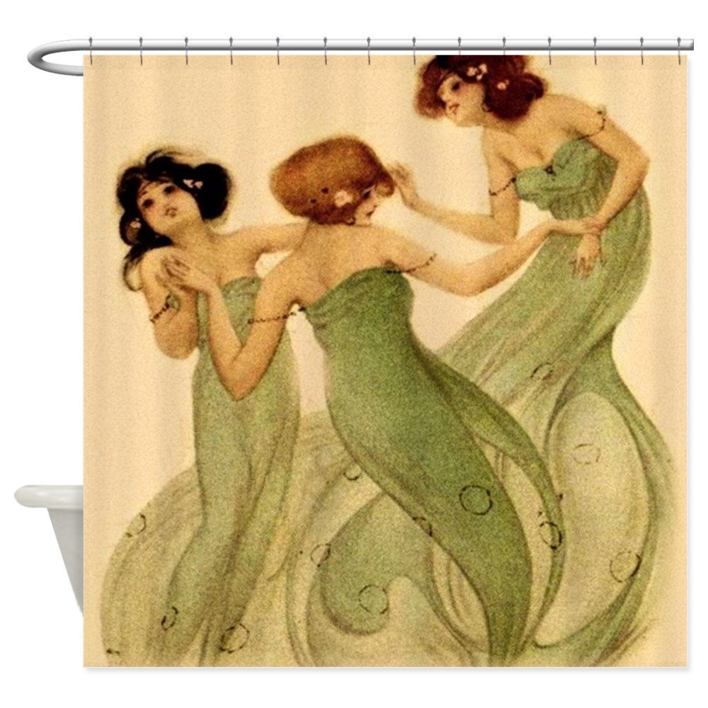 Vintage French Art Deco Dancing Girls Shower Curta Decorative Fabric Shower Curtain Set Non-Slip Bathroom Mats Home Room Doormat