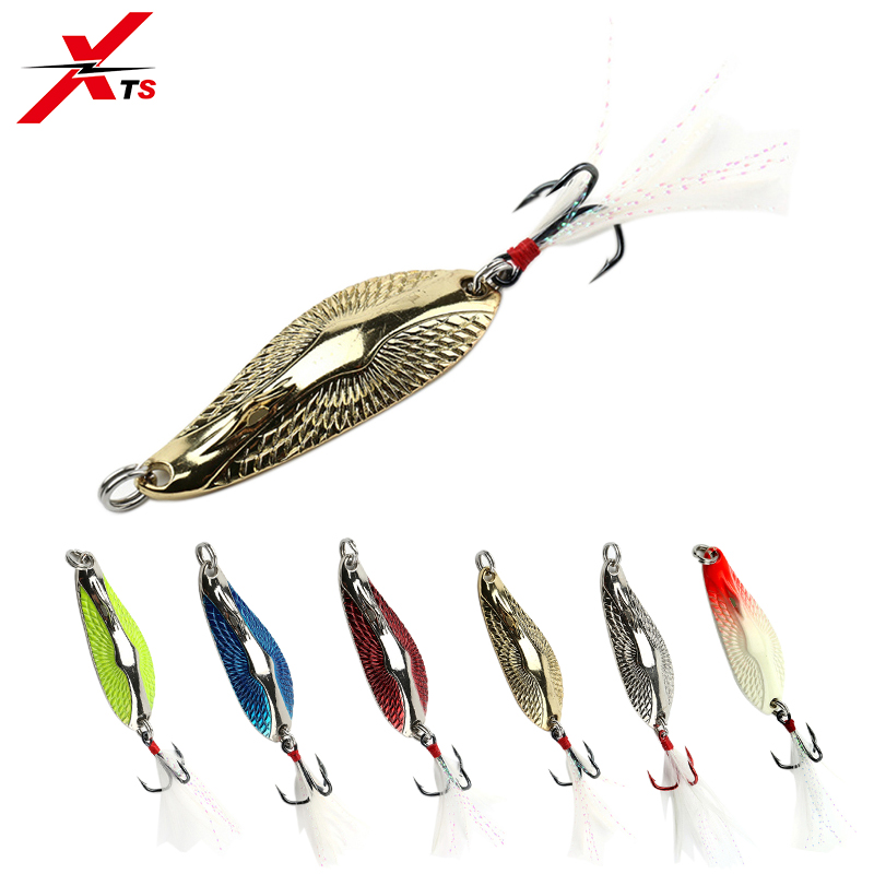 XTS Metal Lure Spinner Spoon Fishing Lures Hard Baits 1PC Full Aqueous Layer Metal Material With Feather Hook Fishing Tackle3403