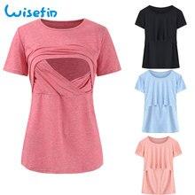 Wisefin Gravidanza Camicia di Estate Infermieristica Vestiti Tshirt Manica  Corta Vestiti Delle Donne Top Per Maternità 1280c22e435