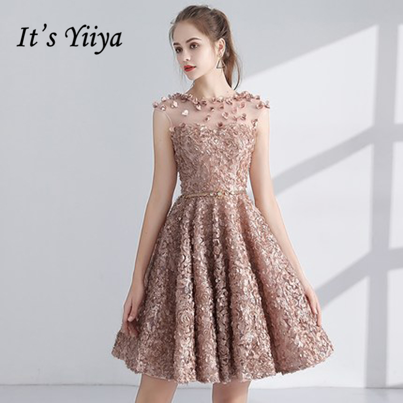 It's YiiYa Cocktail Dress 2018 Party Sleeveless Appliques Flower Illusion Fashion Designer Elegant Short Cocktail Gowns LX1063