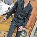 Nuevo conjunto de camisas entalladas de 2 uds para hombre (camisa + pantalón), camisa informal de manga larga a rayas de moda para hombre, traje, chaqueta, pantalones