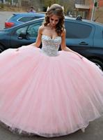 Pink 2018 Cheap Quinceanera Dresses Ball Gown Sweetheart Tulle Beaded Crystals Party Sweet 16 Dresses