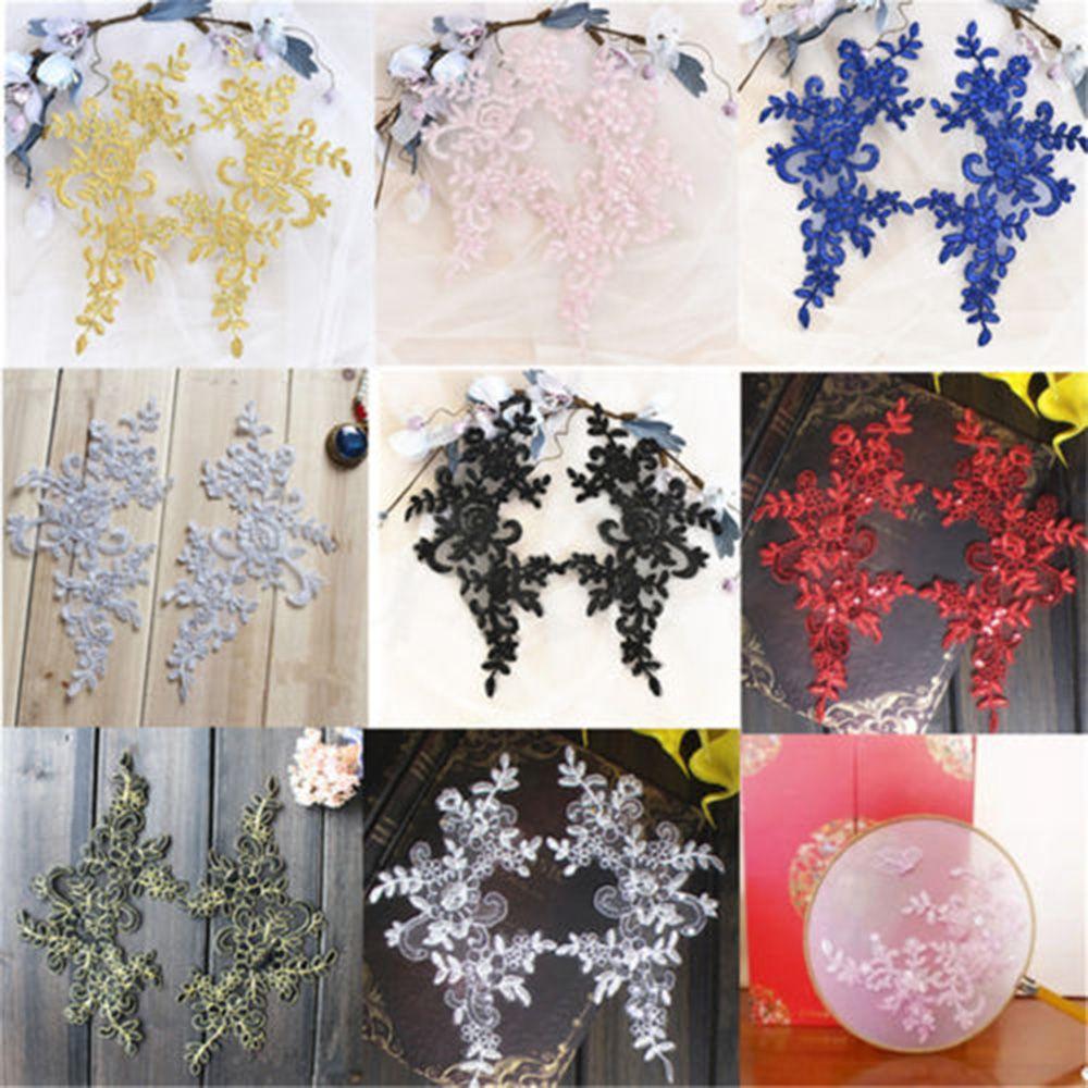 Large Lace Floral Motif Embroidery Applique Bridal Decor Patch Trims Wedding