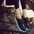 Free Shipping 7 Colors LED Luminous Shoes 2017 Women Flats USB Charging Colorful LED lights Shoes Hombre Mujer Size 35-44