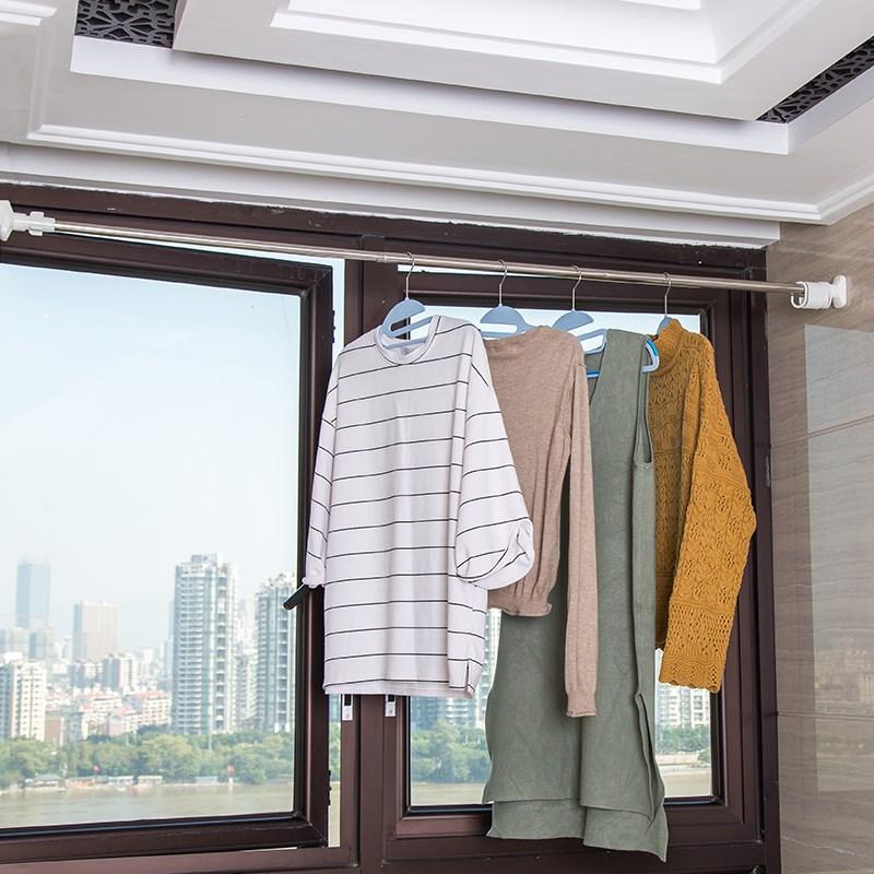 Dehub Bathroom Shower Curtain Poles Telescopic Pole Stainless Steel Toilet Door Curtain Rod Telescopic Clothes Rod