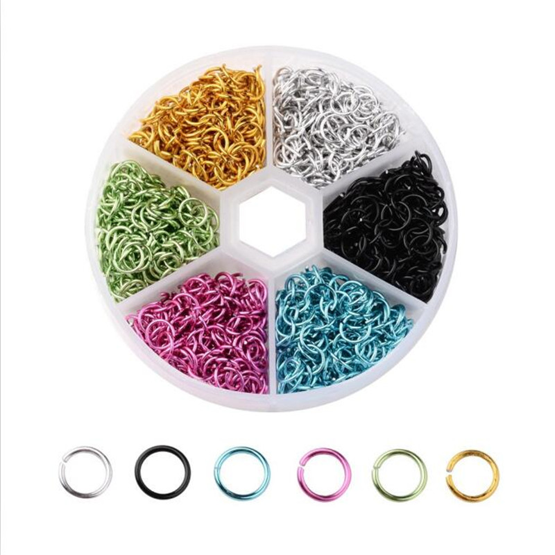 1box(1080pcs) 6mm Closed Circle Colorful Jump Rings Green/Blue/Purple Plated Link Loops For DIY Jewelry Connector Making