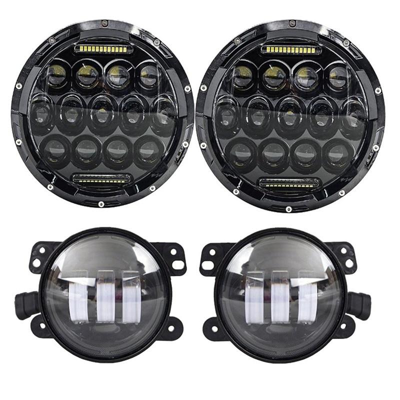 Round 7 75W LED Headlights bulb for Jeep Wrangler JK CJ LJ Hummer H1 H2 Harley LED Projector Driving Lamps DRL 7 led headlights bulb rgb halo angel eye with bluetooth remote for 1997 2016 jeep wrangler jk lj cj hummer h1 h2 headlamp