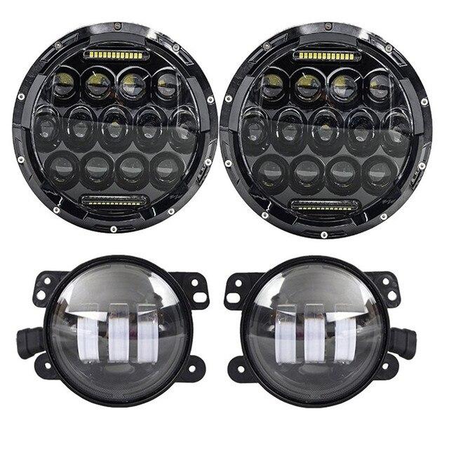 "Round 7"" 75W LED Headlights bulb for Jeep Wrangler JK CJ LJ Hummer H1 H2 Harley LED Projector Driving Lamps DRL"
