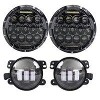 Round 7 75W LED Headlights bulb for Jeep Wrangler JK CJ LJ Hummer H1 H2 Harley LED Projector Driving Lamps DRL