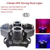 8 шт./лот Новый Infinite Rotatinge 4 глав 60 Вт перемещение головы огни светодио дный RGBW 4IN1 луча освещения сцены для диско Dj для рождественской вечеринк...