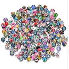 20pcs/lot Random Mix Colors Snap Buttons Beads 18mm Print Glass Cabochon Fit DIY Snap Bracelets&Bangles Jewelry