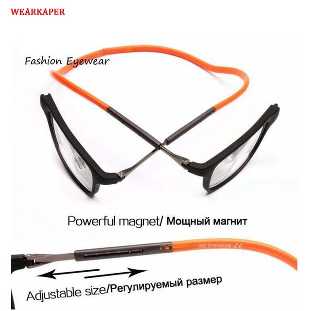 WEARKAPER Magnet Reading Glasses Men Women Adjustable Hanging Neck Magnetic Front Presbyopic Eyeglasses +1.00 +1.50 +2.00 +3.00
