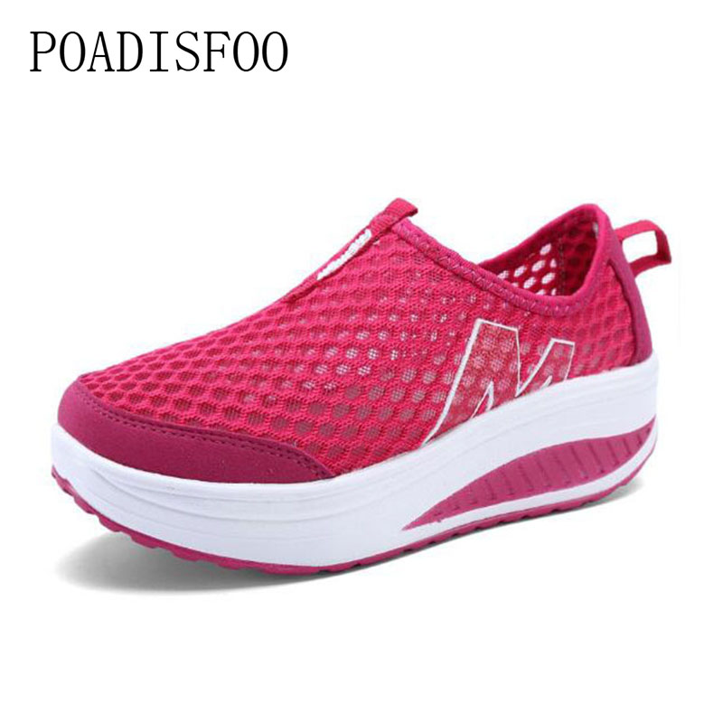 POADISFOO 2018 Mesh Air Women Loafers Breathable Air Mesh Increasing Wedge Shoes Casual Shoes Walking Flats Height .CYL-3308 air mesh breathable hook