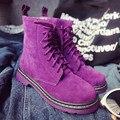 2017 Marca Outono Inverno Mulheres Ankle Boots de Couro Botas De Salto Alto Martin Botas Mulher Sapatos Baixos Rosa Roxo TAMANHO 36-40 frete Grátis