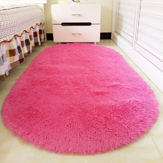 Ellipse Shape Pink Area Rug Bedroom Living Room Long Hair Shaggy ...