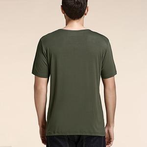 Image 2 - Мужская футболка с коротким рукавом из бамбукового волокна, удобная летняя футболка большого размера для мужчин 2020, свободная Черно белая серая футболка с v образным вырезом T16