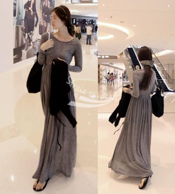 2015 New Korean Style Casual Women OL Round Neck Casual Dress Long Sleeve  Long Maxi Dress Spring Vestidos 10152 abb24e23b1e7