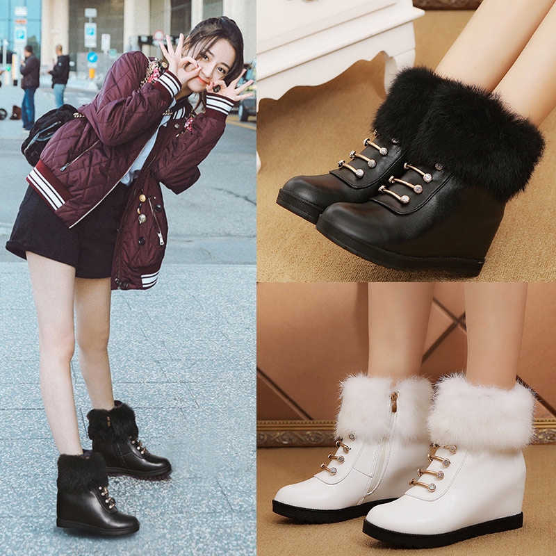Invierno white Para Botas Cremallera Black Calidad De Mujeres La Nieve Zapatos Plataforma Alta Las Cálido Mujer Altura Señoras Martin Aumento Pu nqgHn6R