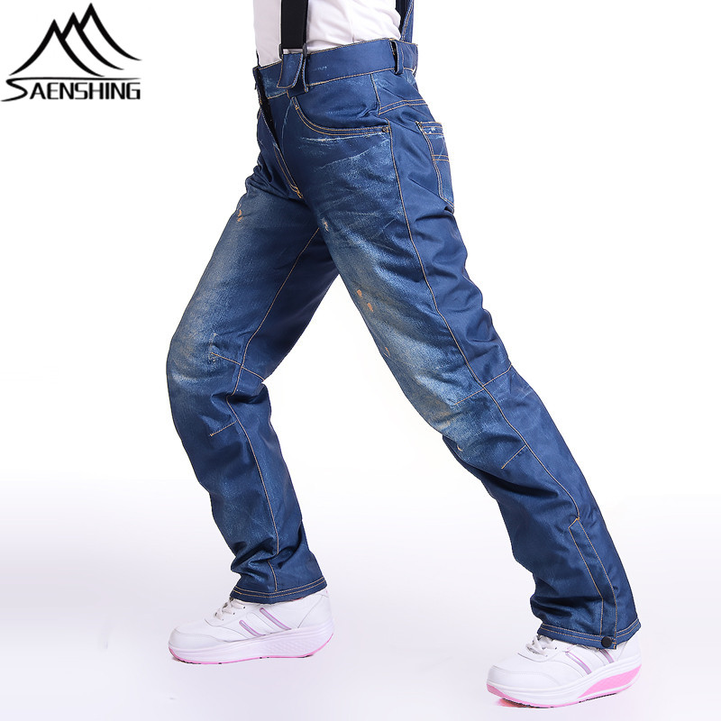 SAENSHING Ski Pants Women Waterproof Windproof Denim Mountain Skiing Trousers Winter Sports Snowboard Pants Female Snowboarding