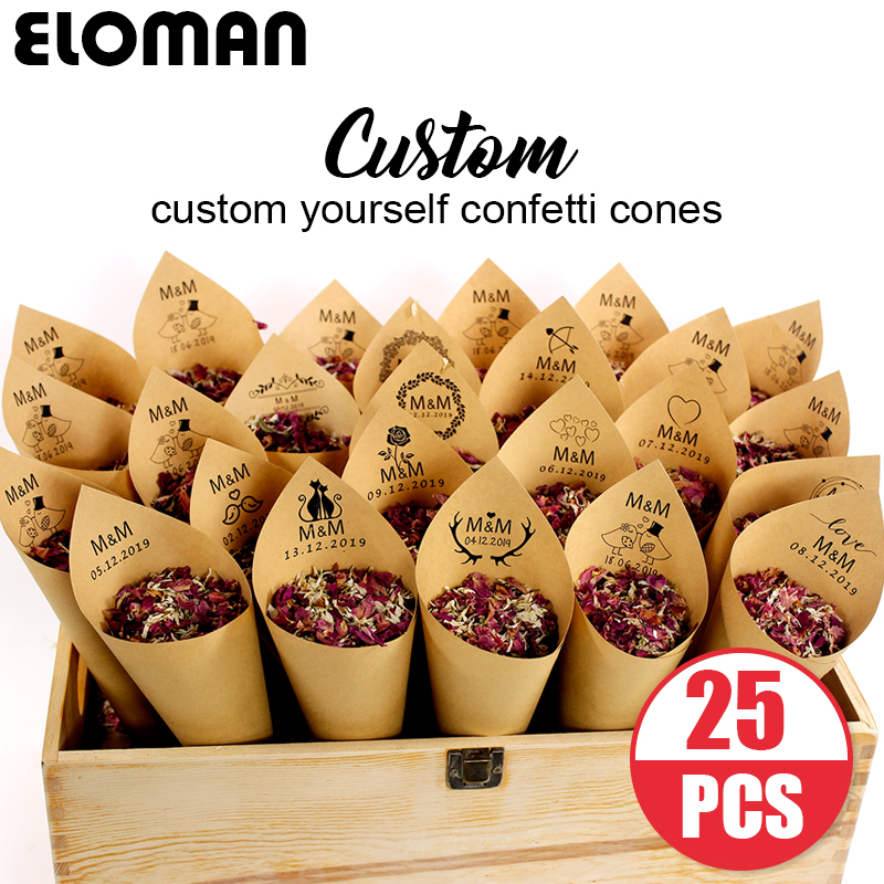 custom wedding confetti cones ELOMAN Retro kraft Petal Candy Placing natural confetti cones for wedding and party decoration in Party DIY Decorations from Home Garden