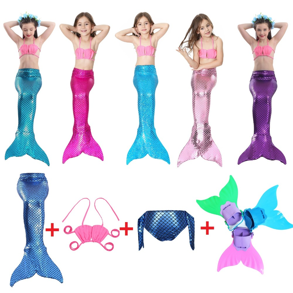 Kids Mermaid costume Cosplay Girls Bikini Mermaid Tail mermaid swimsuits for kids Swimsuit Mermaid Tail Clothing Swimwear Set
