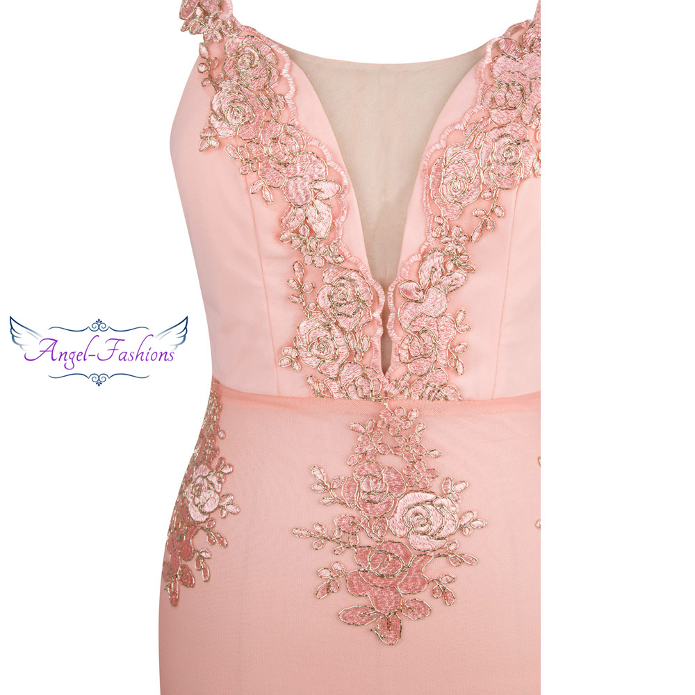 Image 4 - Angel fashions Womens V Neck Embroidery Lace Flower Mermaid Long  Evening Dress Pink 310evening dress pinkevening dresslong evening  dress