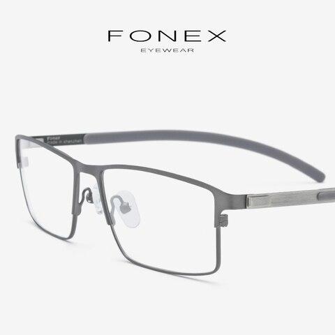 Titanium Alloy Eyeglasses Frame Men Full Square Myopia Optical Prescription Glasses Frame Male Metal Korea Screwless Eyewear 982 Pakistan