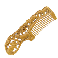 Natural Wide Tooth Wood Comb Green Sandalwood Carving Antistatic Massage Health Care Combs High Quality Hair