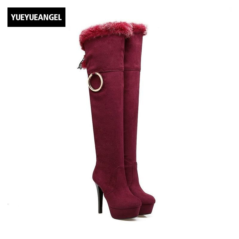 2018 Winter Fleece Lining Warm Thigh High Boots Metal Ring Lace Up Woman Shoes Faux Suede High Heel Platform Lady Shoes Sapatos