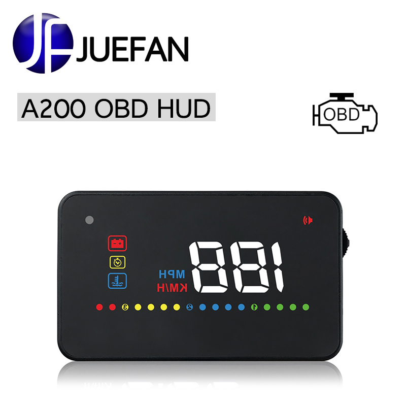 A200 HUD tête haute affichage véhicule OBD2 II EUOBD vitesse dépasse système d'avertissement projecteur pare-brise Auto électronique tension alarme