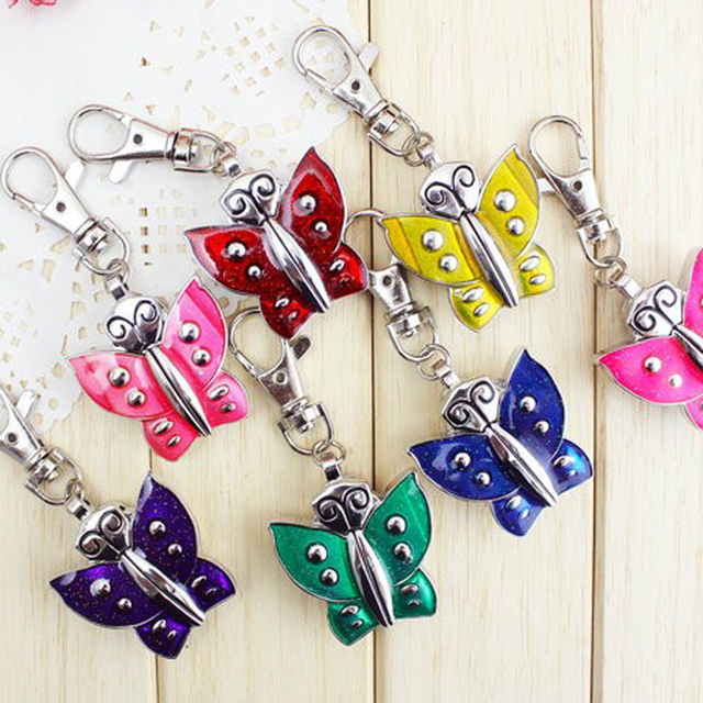 chaoyada brand 1pcs Stainless Steel Butterfly Necklace Key chain Pocket Watches