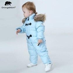 Orangemom mono niños de invierno Bebé traje de neopreno + Naturaleza piel 90% pato abajo chaqueta para niñas abrigos de invierno en el parque para niños mono