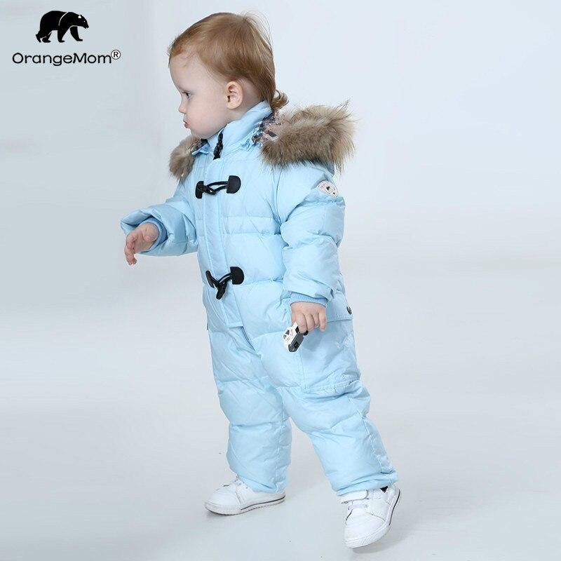 Orangemom комбинезон дети зимние детские snowsuit + природа меха, 90% утка вниз куртка для девочек Зимние пальто Парка для мальчиков комбинезоны