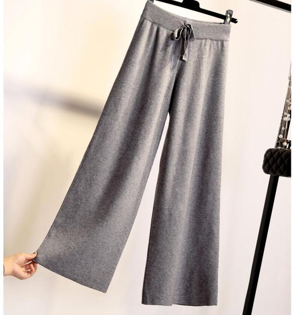 Moda kobiety spodnie jesień zima dzianiny spodnie szerokie nogawki elastyczna wysokiej talii kobiece na co dzień luźne spodnie
