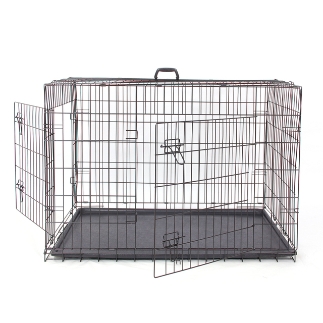 PAWZRoad Domestic Delivery Pet Dog Cage Crate Double-Door Pet Kennel Collapsible Easy Install Fit Your Pets 5 Sizes Pet House 3