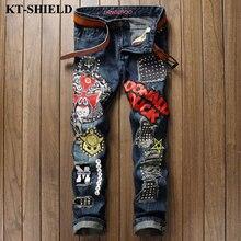 Мода мужская марка джинсы байкер ripped проблемные джинсовые брюки для человека уличной мужчины вакеро hombre хлопок повседневная жан брюки