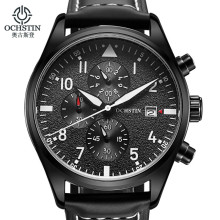 купить OCHSTIN Top Relogio Masculino Men Business Chronograph Luminous Waterproof Wristwatch Mens Luxury Brand Leather Quartz 2019 по цене 1171.71 рублей