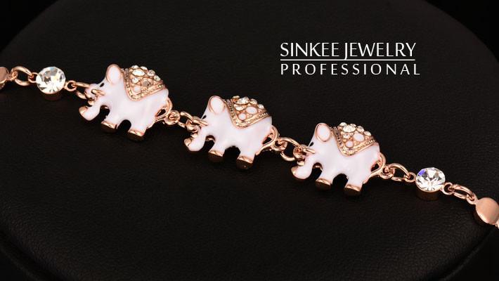 Enamel Black And White Elephant Bracelets