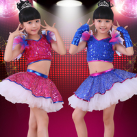 Blue Sequined Girls Modern Jazz Dancewear Dress Kids Ballroom Ballet Party Dancing Costumes Outfits with Gloves