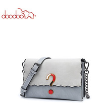 DOODOO Brand Women Bag Female Shoulder Crossbody Bags Chain Artificial Leather New Stitching Question Mark Pattern Messenger