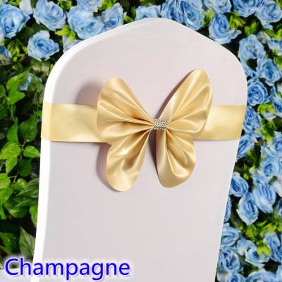 Champagne colour chair sash wedding mini style butterfly bow tie lycra band stretch bow tie ribbon for chair covers on sale