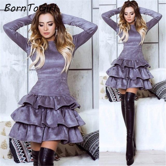 Borntogirl Осень Зима Эластичный Высокая талия замша короткое платье пикантные женские с длинным рукавом О-образным вырезом черный серый платье роковой