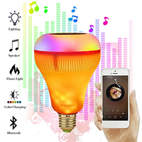 E27 умная цветная (RGB) Беспроводной Bluetooth Динамик лампы работы в режиме воспроизведения музыки затемнения светодиодный RGB Музыка лампа с 24 кла...