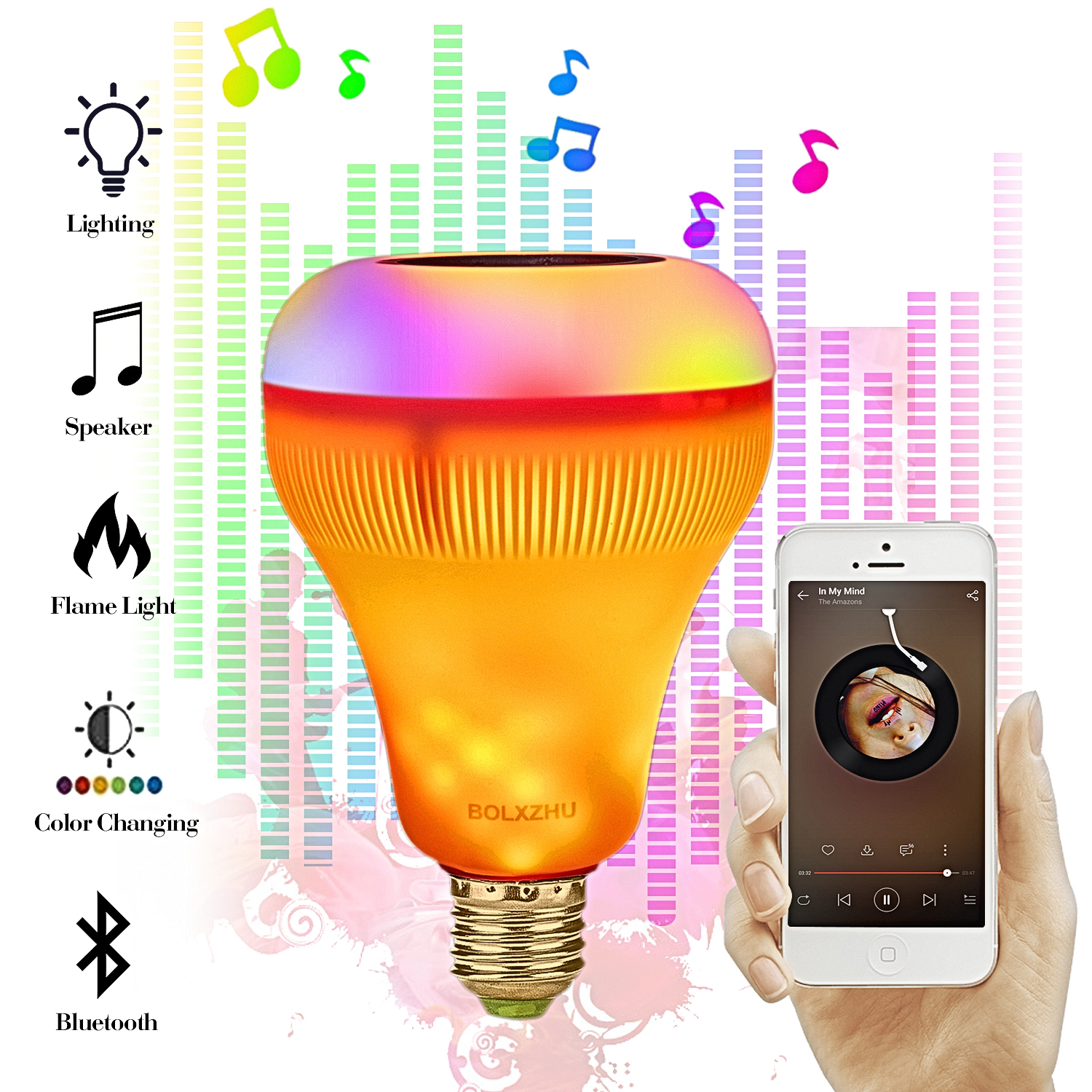 E27 Smart RGB Wireless Bluetooth Speaker Bulb Music Playing Dimmable LED RGB Music Bulb Light Lamp with 24 Keys Remote ControlE27 Smart RGB Wireless Bluetooth Speaker Bulb Music Playing Dimmable LED RGB Music Bulb Light Lamp with 24 Keys Remote Control