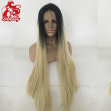 Ombre Wig Cheap Fashion Heat Resistant Synthetic lace front wig Two Tone Blonde Wigs For African American Black Women