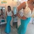 Sheer lace deep V-neck pearls sky blue mermaid evening dresses 2017 lace beads waist sheath formal evening gown vestido de festa