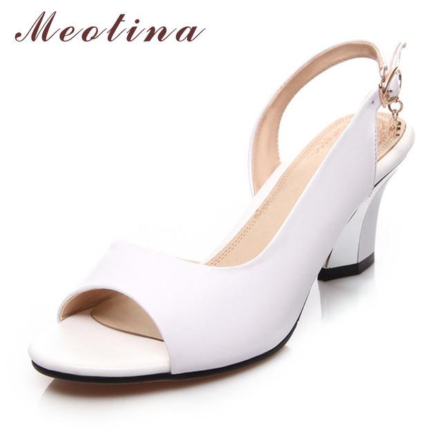Meotina mulheres genuínas sapatos de couro sandálias de verão peep toe grosso sapatos de salto alto de cristal sapatos de casamento branco vermelho grande tamanho 34-44